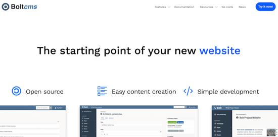 Bolt CMS homepage