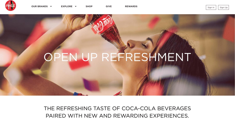 Coca Cola's website