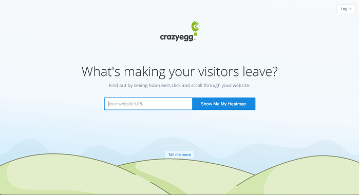 Crazy Egg's homepage