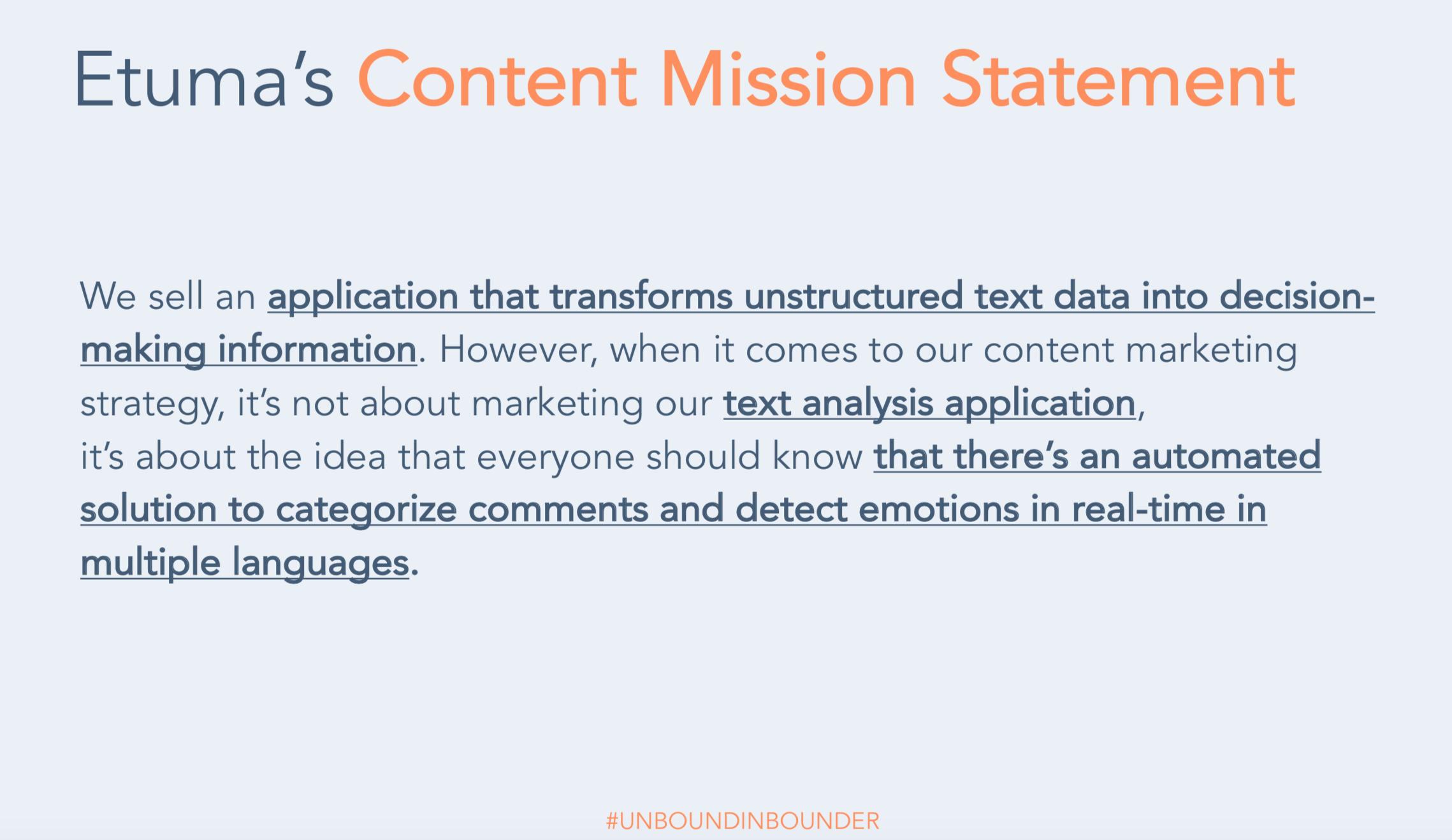 Etuma Content Mission Statement