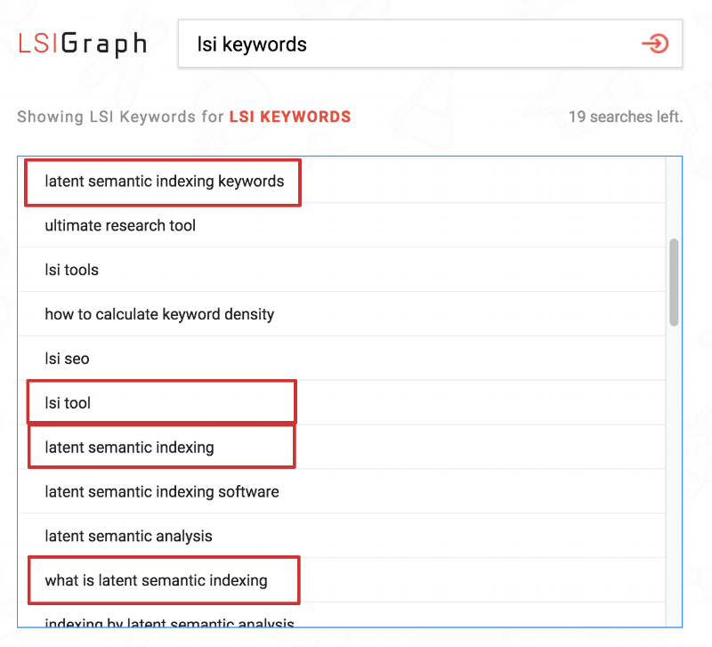 Examples of LSI Keywords