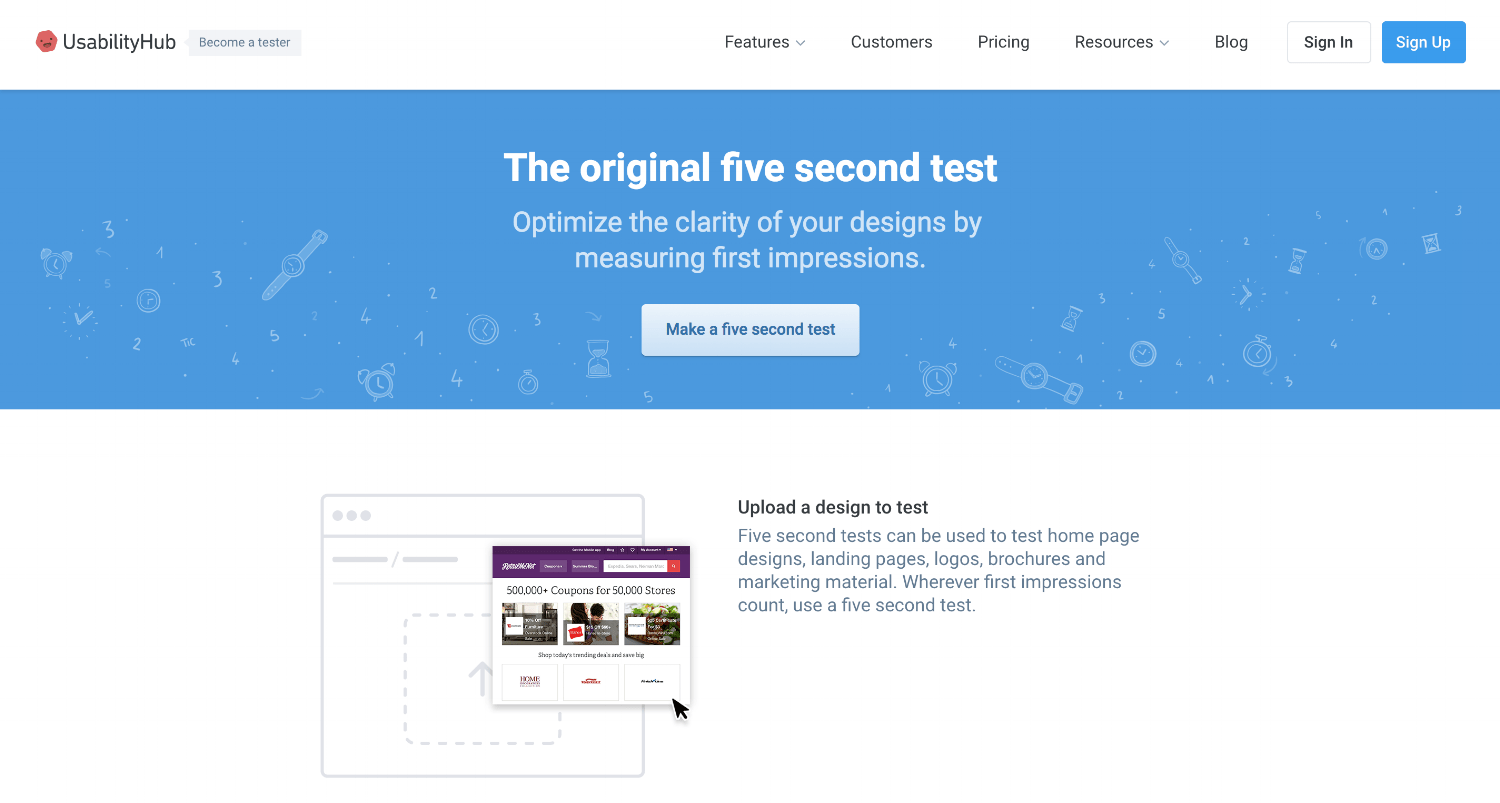 Five Second Test's homepage