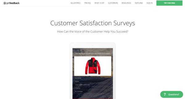 GetFeedback's customer feedback tool