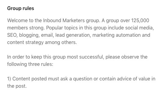 HubSpot-Linkedin-group-rules