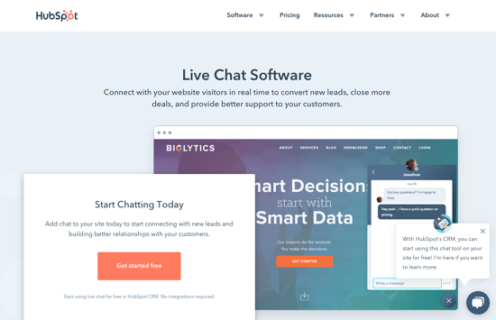 HubSpot Live Chat Homepage