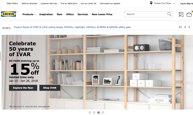 IKEA's website
