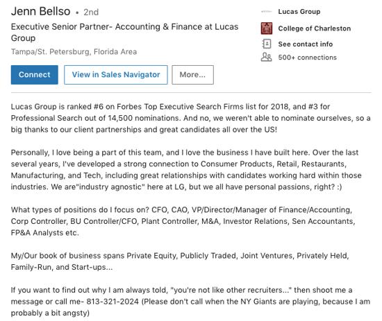 Jenn Bellso LI Summary example