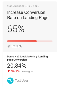 Setting goals for landing page conversions