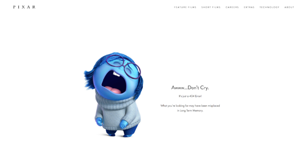 Pixar's 404 Error Page