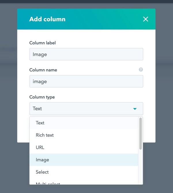 HubDB Column