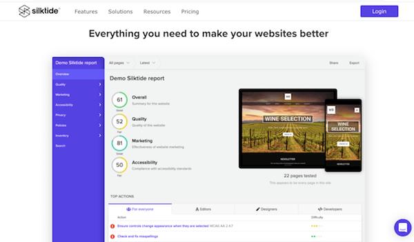 Screen Shot silktide website