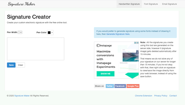 Signature Maker homepage