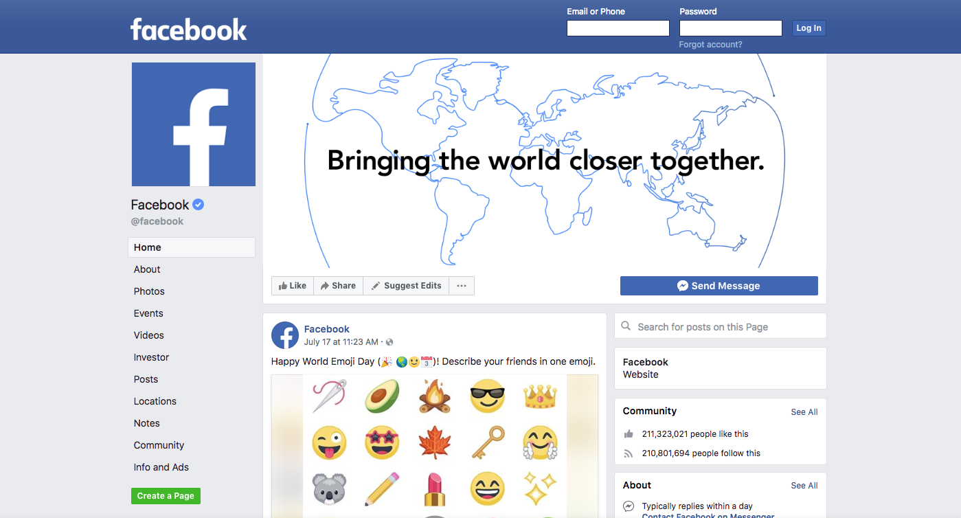 Facebook site blue