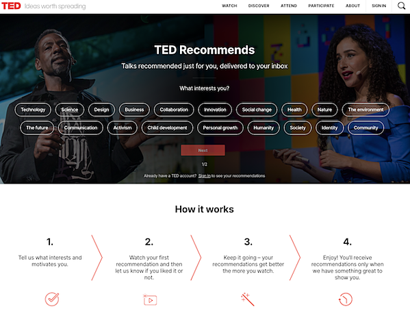 TED-homepage