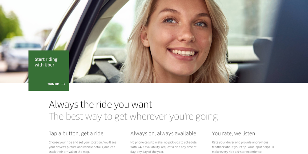 Uber's ride page