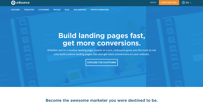 Unbounce focuses heavily on the A/B testing of landing pages.