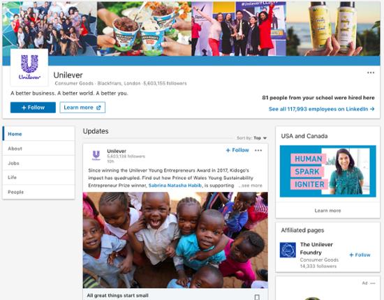 Unilever-linkedin-company-page
