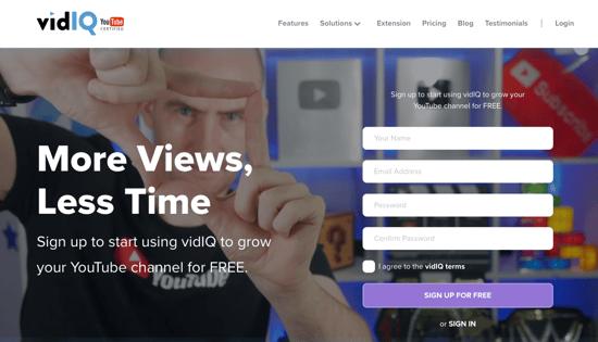 VidIQ homepage 2019