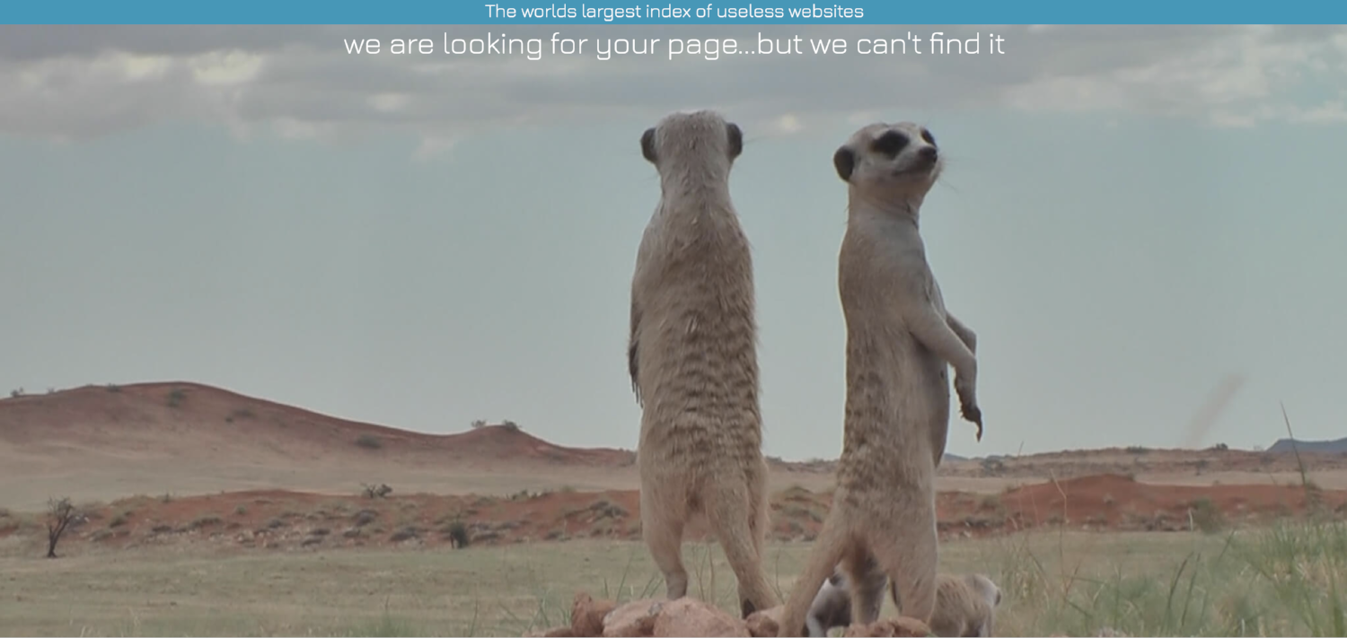 The Useless Web Index's 404 Page