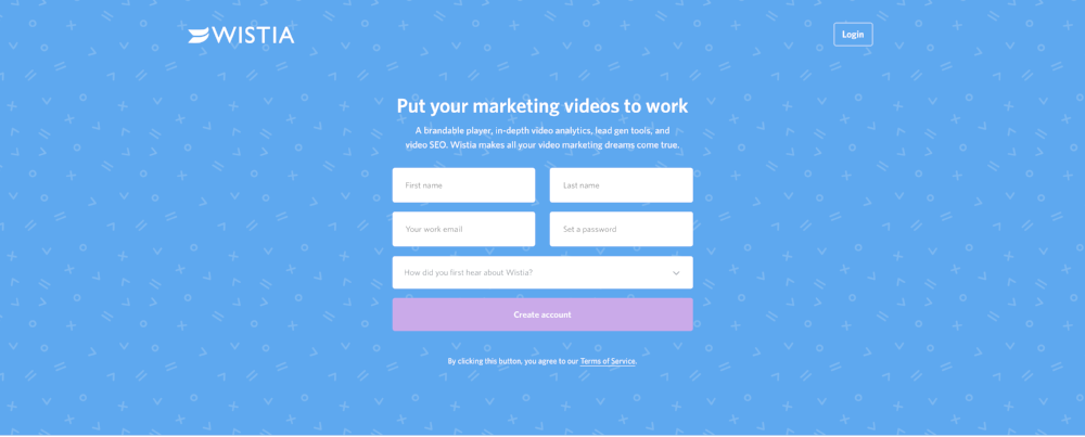 Wistia's sign up page