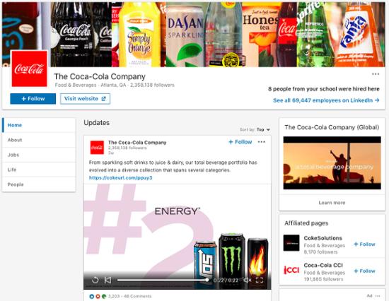 coca-cola-linkedin-company-page