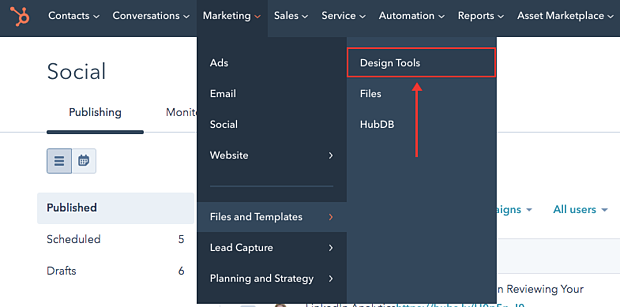 image showing where to access your file manager in your hubspot portal
