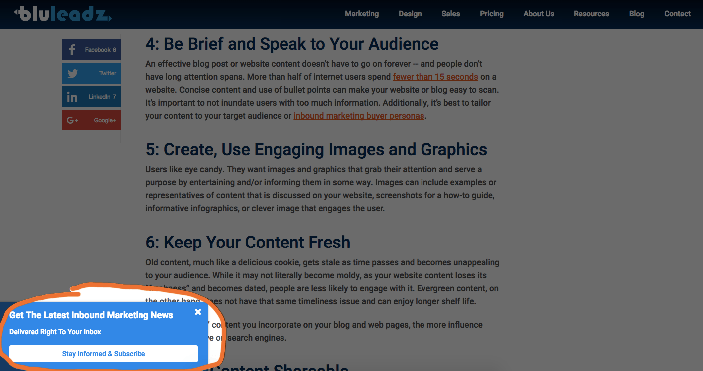 Example of a pop-up blog subscriber button using HubSpot's Lead Flow tool.