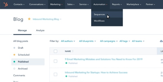 using the hubspot sequence tool