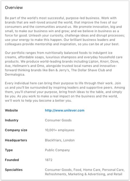 unilever-linkedin-company-summary