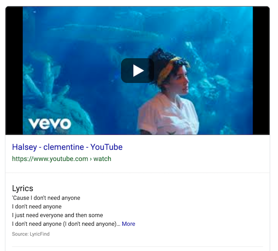 video-featured-snippet-example