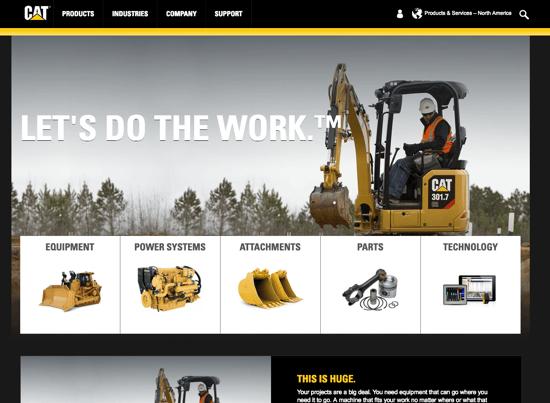 Caterpillar homepage 2019