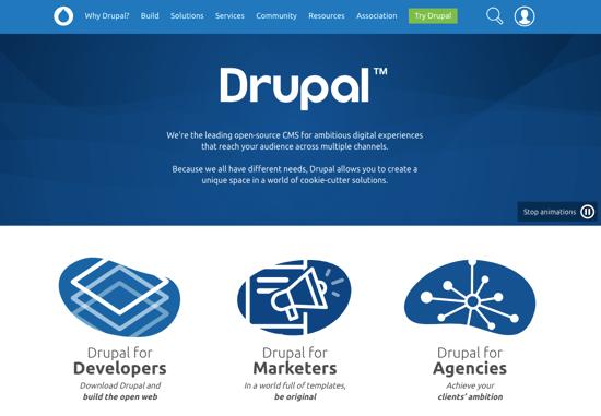 Drupal homepage 2019