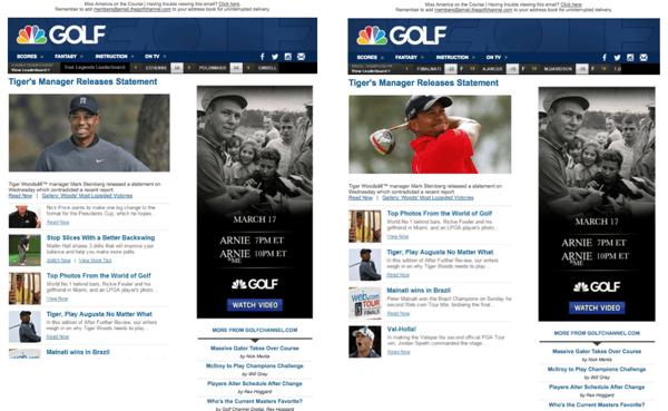 Golf Channel's Newsletter