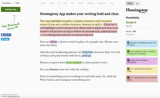 Hemingway App homepage