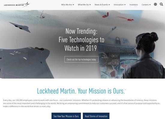 Lockheed Martin homepage 2019