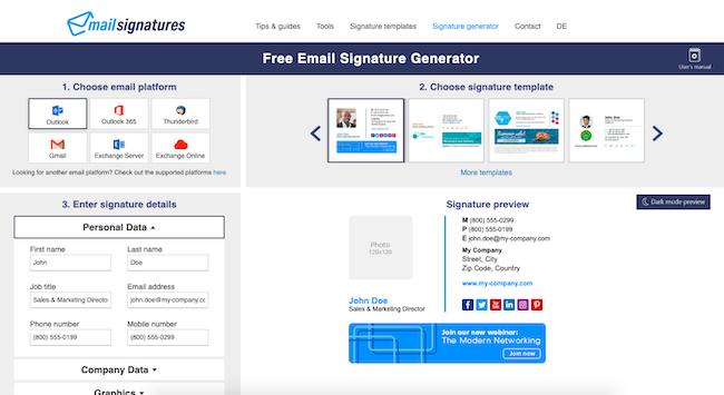 Mailsignatures.com homepage