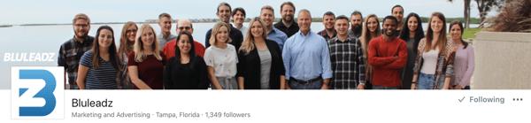 LinkedIn Company Page header
