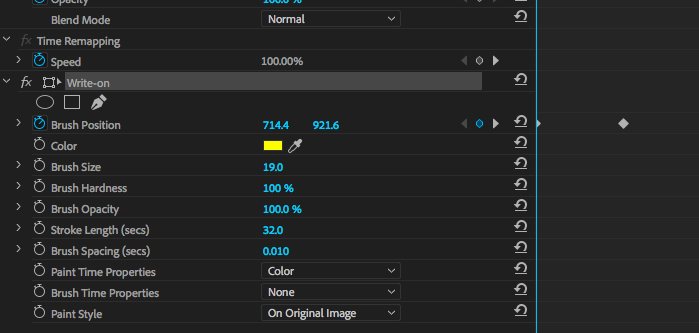 Write-on effect options in Adobe Premiere.