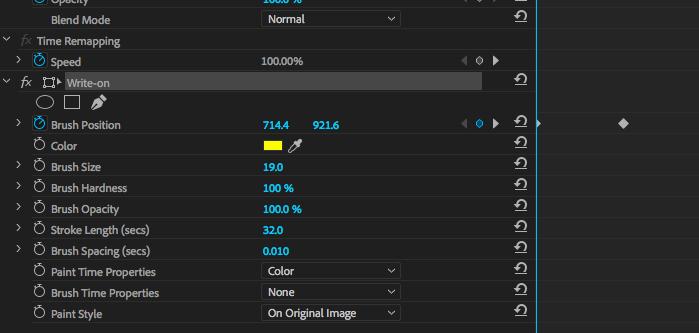 Write-on effect options in Adobe Premiere.