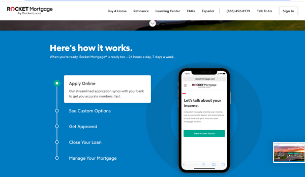 rocket mortgage how it works page