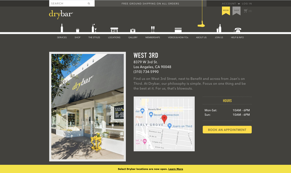 drybar website location page
