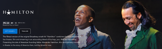 Brand awareness example: Hamilton on Disney