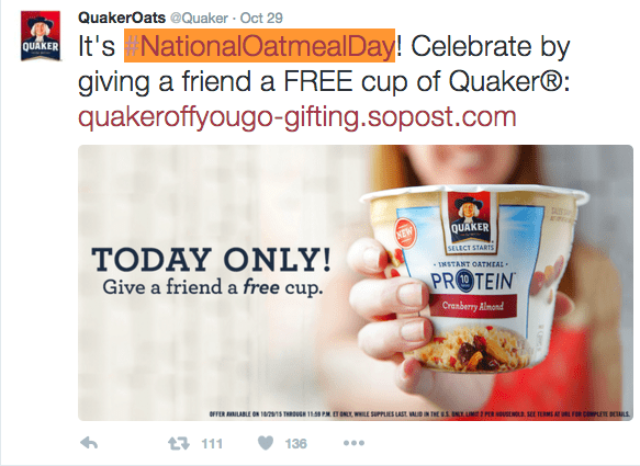 #NationalOatmealDay makes the list for best social media campaigns of 2015