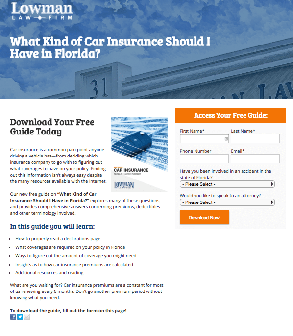 Lowman Law's Newly Designed Landing Page