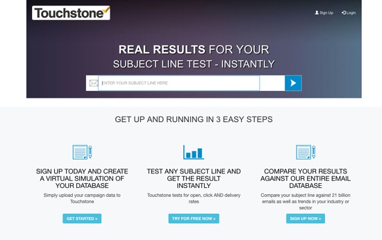 Subject Line Gold by Touchstone homepage