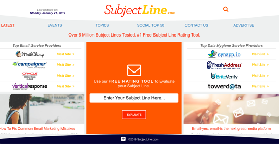 SubjectLine.com homepage