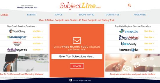 SubjectLine.com homepage