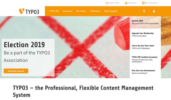 TYPO3 homepage 2019