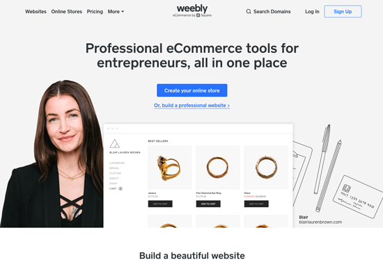 Weebly homepage 2019