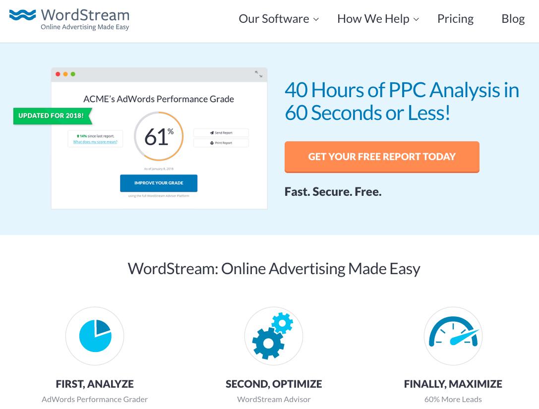 WordStream Homepage